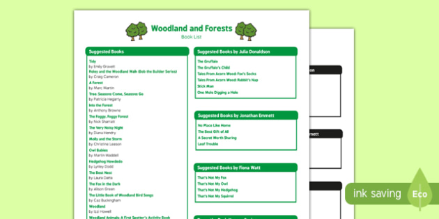 Woodland and Forests Book List - woodland, forests, book list, book, list
