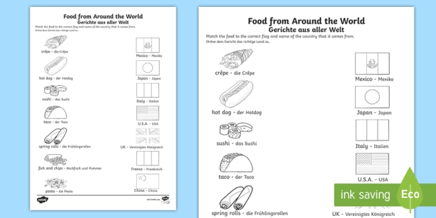 food from around the world matching worksheet worksheet english german. Black Bedroom Furniture Sets. Home Design Ideas