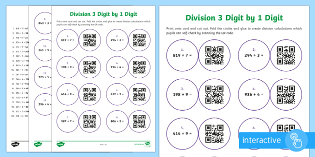 Dividing 3 Digit by 1 Digit Numbers Code Hunter - QR Codes, division, calculations, short division no remainders