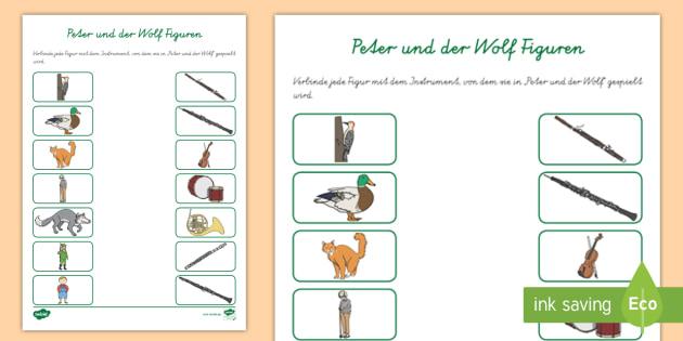 NEW * Peter und der Wolf Figuren und Instrumente Arbeitsblatt