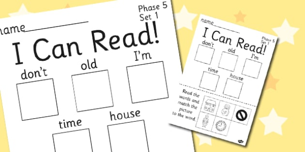 I Can Read Phase 5 Set 1 Words Activity Sheet - phase 5, activity, worksheet