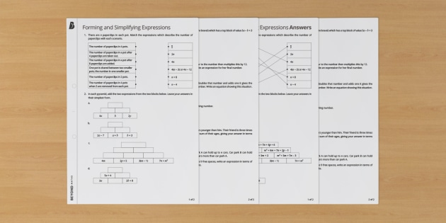 Forming and Simplifying Expressions Worksheet