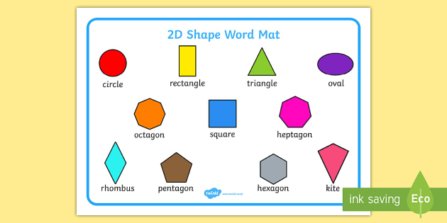 FREE! - 2D Shapes Names Word Mat