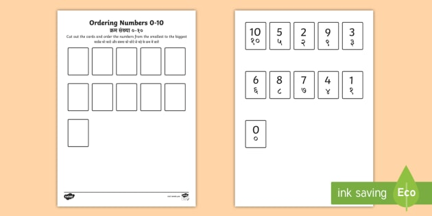 Ordering Numbers 0 to 10 Counting Worksheet English/Hindi ...
