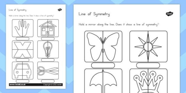 Line of Symmetry Worksheet - australia, symmetry, worksheet
