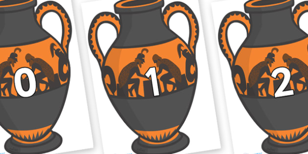 Numbers 0-50 on Amphora - 0-50, foundation stage numeracy, Number recognition, Number flashcards, counting, number frieze, Display numbers, number posters