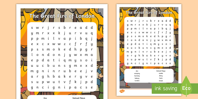 The Great Fire Of London Wordsearch - the great fire of london, wordsearch, the great fire of london wordsearch, the great fire of london keywords