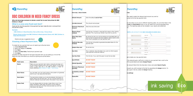 BBC Children in Need ParentPay How to Set up Single Payment