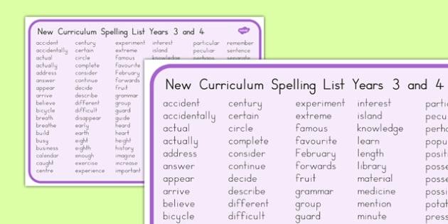 Years 3 and 4 Spelling List Mat - Australian Curriculum