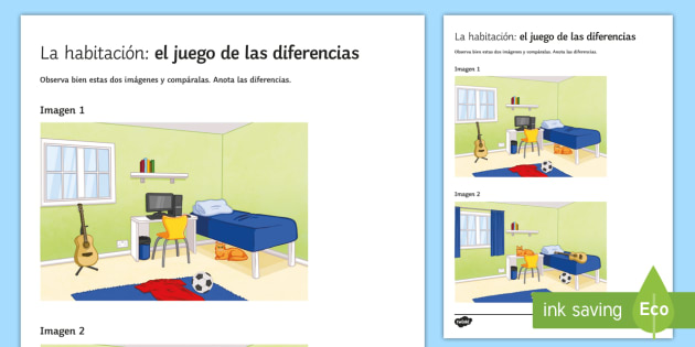 My Bedroom Spot The Differences Game Spanish Speaking Interesting Bedroom Furniture Spot