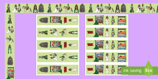 The Princess and the Pea Display Borders - The Princess and the Pea, Display border, classroom border, border, prince, queen, princess, pea, castle, fairytale, traditional tale, Hans Christian Andersen, story, story sequencing,