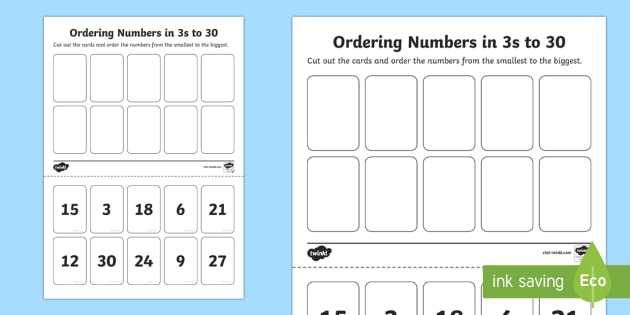Ordering Numbers in 3s to 30