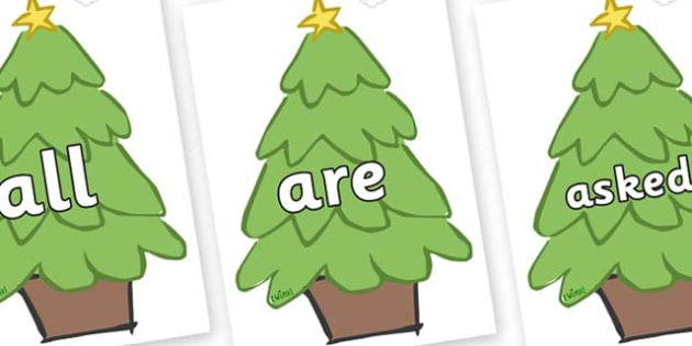 Tricky Words on Christmas Trees (Plain) - Tricky words, DfES Letters and Sounds, Letters and sounds, display, words
