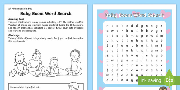 Baby boom word search amazing fact of the day worksheet baby boom word search amazing fact of the day worksheet activity sheets ibookread ePUb
