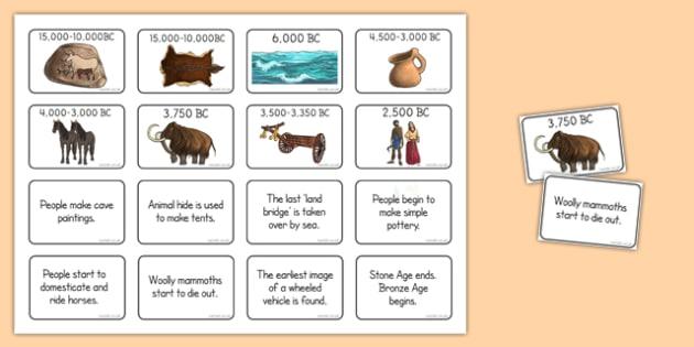Stone Age Timeline Matching Activity - stone age, timeline, matching, activity, match