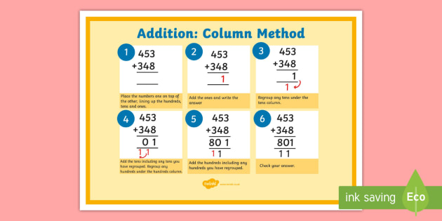 addition column method for 3 digit numbers. Black Bedroom Furniture Sets. Home Design Ideas