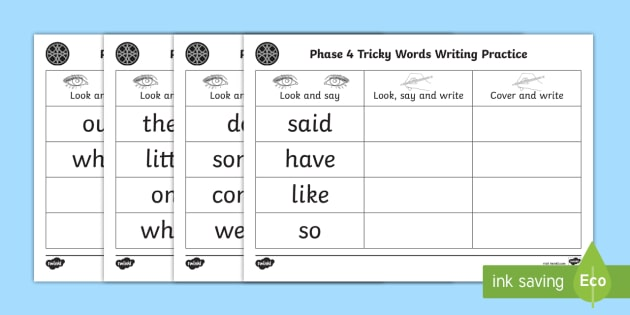 Middle East Phase 4 Tricky Words Writing Practice Worksheet ...