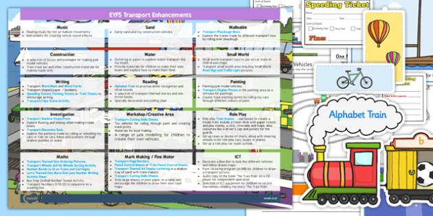 EYFS Transport Themed Enhancement Ideas and Resource Pack - planning, eyfs