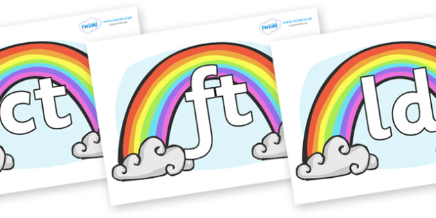 Final Letter Blends on Rainbows - Final Letters, final letter, letter blend, letter blends, consonant, consonants, digraph, trigraph, literacy, alphabet, letters, foundation stage literacy
