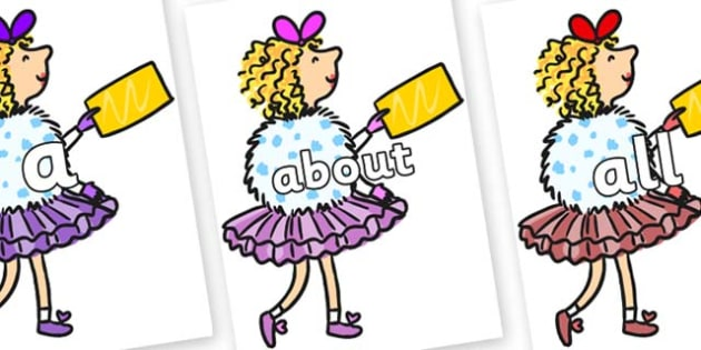 100 High Frequency Words on Veruca Salt - High frequency words, hfw, DfES Letters and Sounds, Letters and Sounds, display words