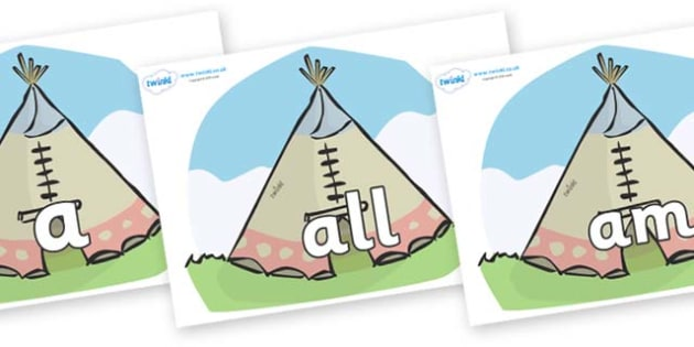 Foundation Stage 2 Keywords on Tipis - FS2, CLL, keywords, Communication language and literacy,  Display, Key words, high frequency words, foundation stage literacy, DfES Letters and Sounds, Letters and Sounds, spelling