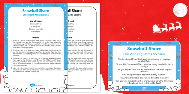 Snowball Share Christmas Elf Maths Scenario