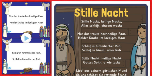 image regarding Silent Night Lyrics Printable called Stille Nacht Xmas Carol Pack German - german, peaceful