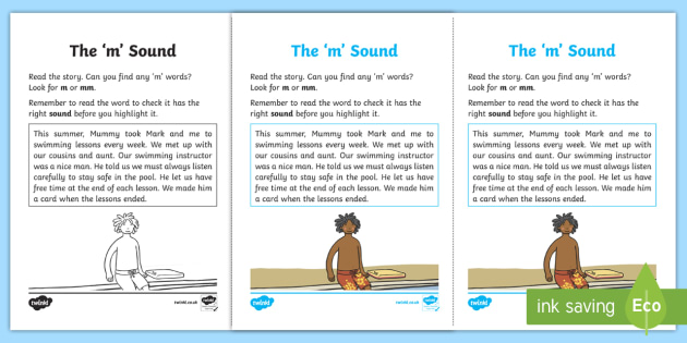 Northern Ireland Linguistic Phonics Stage 5 and 6 Phase 3a, 'm' Sound Worksheet / Activity Sheet - Linguistic Phonics, Phase 3a, Northern Ireland, 'm' sound, sound search, text, Worksheet