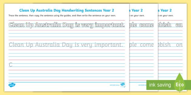 Clean Up Australia Day Year 2 Handwriting Worksheet - English