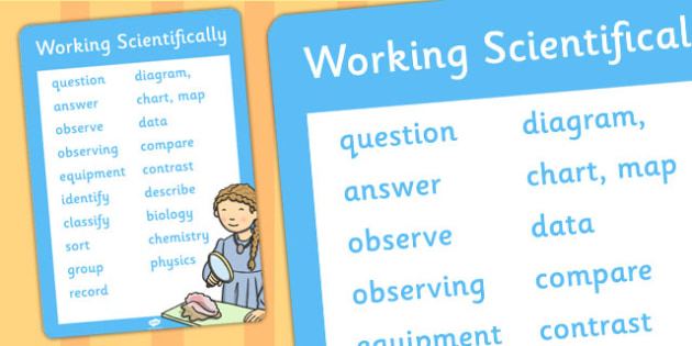 KS1 Working Scientifically Scientific Vocabulary Poster - poster