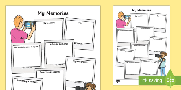 School memories Worksheet / Activity Sheet - End of Year,Back to School, Australia,end of year,memories,favourite memories,favourite,drawing,came