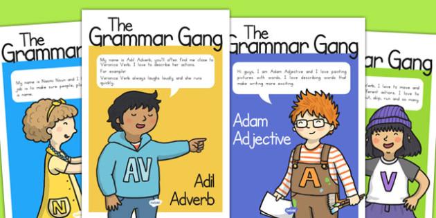 Grammar Gang Character Display Posters - SPaG, english, writing, KS2, Key stage 2, sentences, word class, Australia