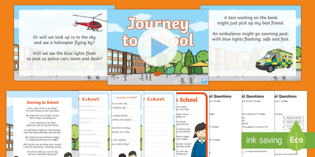Journey To School Poem Pack - poem, poetry, rhyme, bus