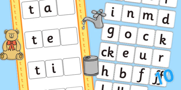 CVC t Word Activity Including Phase 2 Letters and Sounds - phases