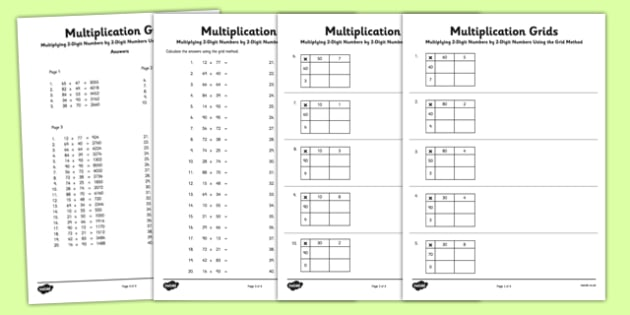 Multiplying 2 Digit Numbers By 2 Digit Numbers Using Grid
