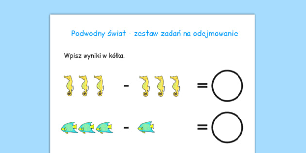 Arkusz Świat podwodny Odejmowanie po polsku - matematyka
