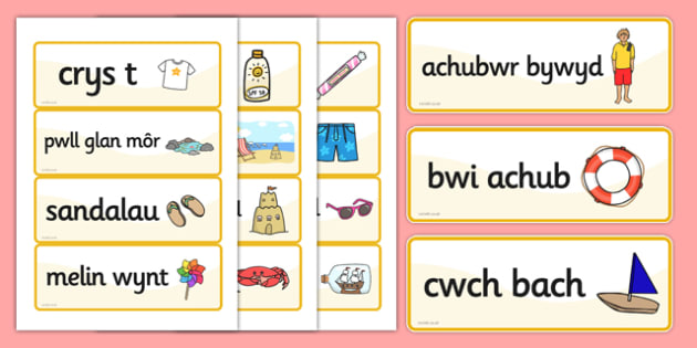 Seaside Word Cards Welsh - welsh, seaside, word cards, cards