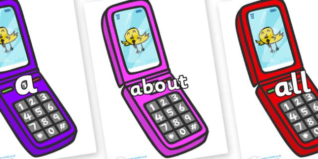 100 High Frequency Words on Mobile Phone - High frequency words, hfw, DfES Letters and Sounds, Letters and Sounds, display words