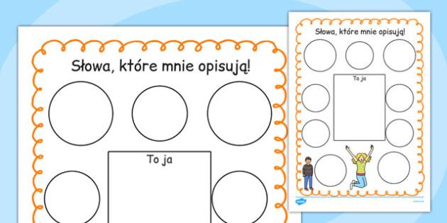 Ćwiczenie Słowa, które opisują mnie po polsku - dzieci , Polish