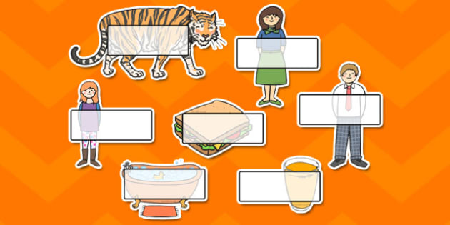 The Tiger Who Came to Tea Self-Registration - tiger, tea, the tiger who came to tea, Self registration, register, editable, labels, registration, child name label, printable labels, book resources, play, Judith Kerr, girl, story book