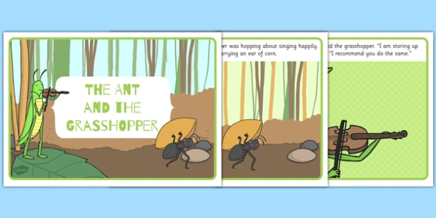 The Ant and the Grasshopper - stories, story books, fables, read