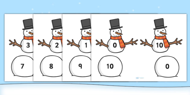 Snowman Number Bonds to Ten - snowman, number bonds, number bonds to ten, numbers, numeracy, number activities, number games, addition, adding, plus