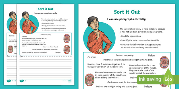 Using Paragraphs Worksheet - Differentiated Sorting Activity
