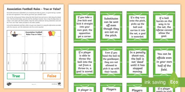 Association Football Rules True Or False Sorting Worksheet