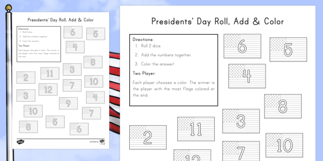 Presidents' Day: Roll and Colour Activity Sheet - KS1, Presidents Day, American Presidents, American History, Social Studies, George Washington, Abrah