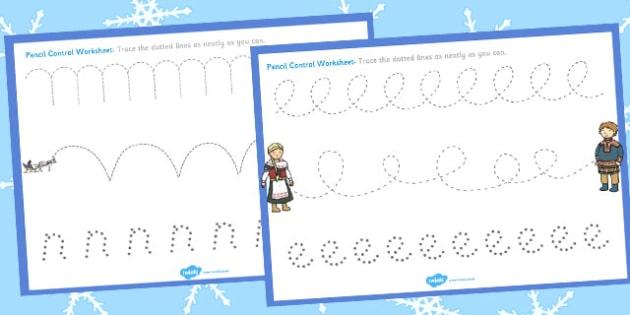 The Snow Queen Pencil Control Sheets - pencil control, sheet