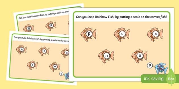 Phonics Playdough Mats to Support Teaching on The Rainbow Fish