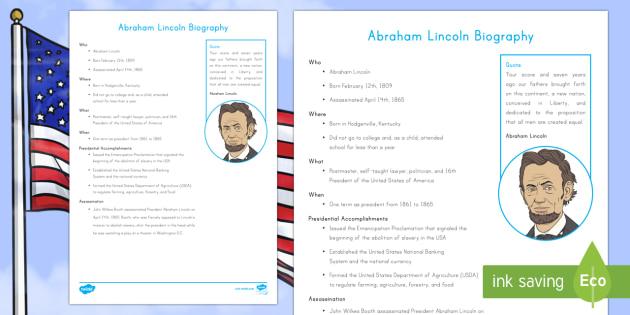Abraham Lincoln Fast Facts Fact File - Abraham Lincoln Worksheet, American History, Social Studies, Barack Obama, Lyndon B. Johnson, Franklin D.