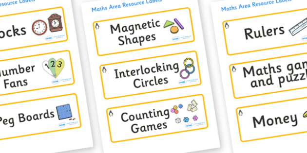 Penguin Themed Editable Maths Area Resource Labels - Themed maths resource labels, maths area resources, Label template, Resource Label, Name Labels, Editable Labels, Drawer Labels, KS1 Labels, Foundation Labels, Foundation Stage Labels, Teaching Lab