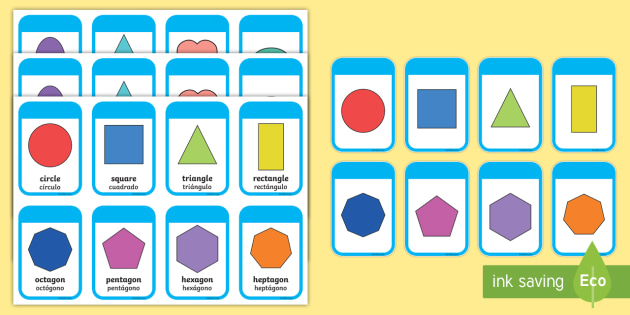 2D Shapes Flashcards English/Spanish